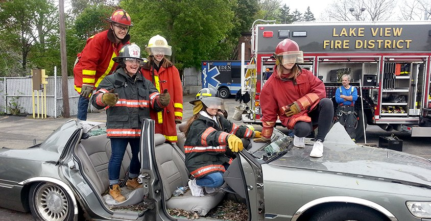 EMT students at extrication drill